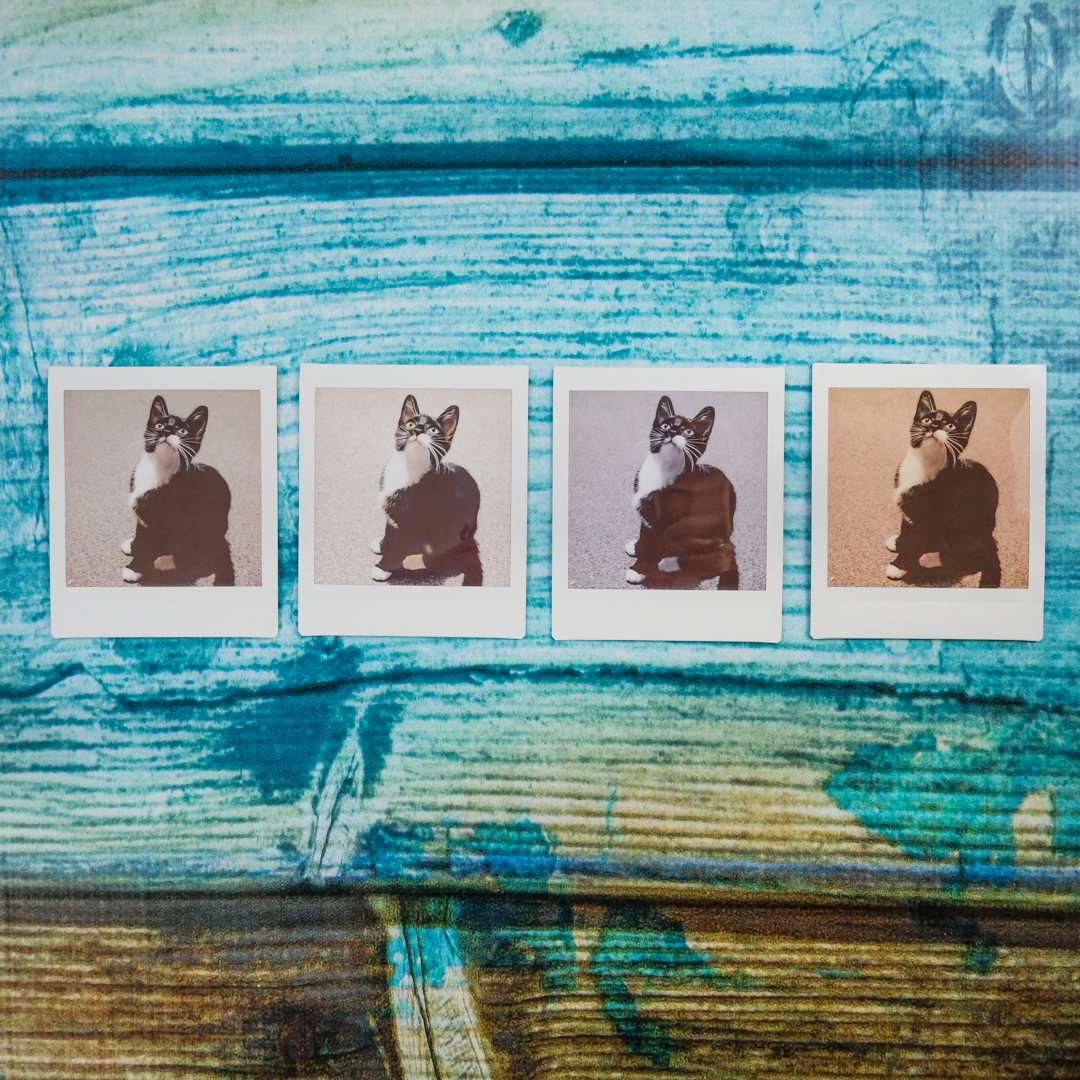instax SQUARE images printing out with different effects